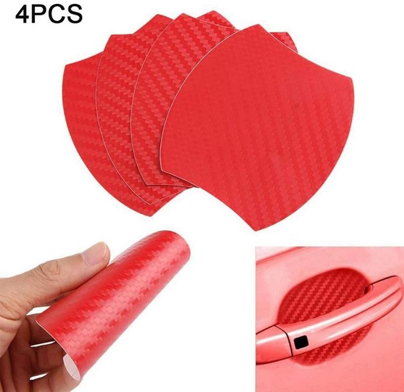 4Pcs Car Door Red Fiber Handle Sticker