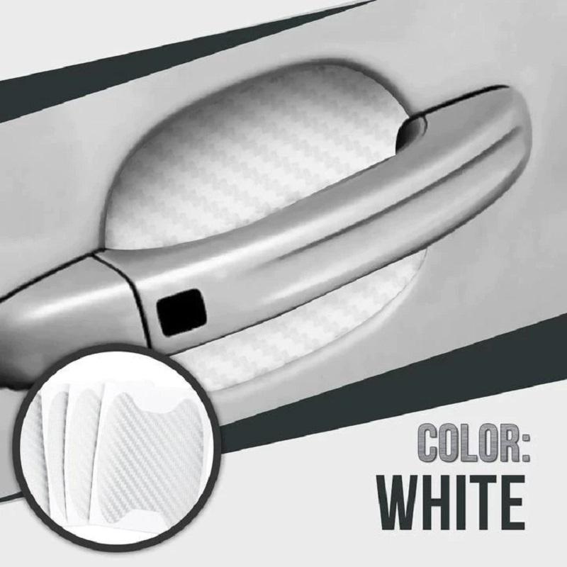 4Pcs Car Door White Fiber Handle Sticker