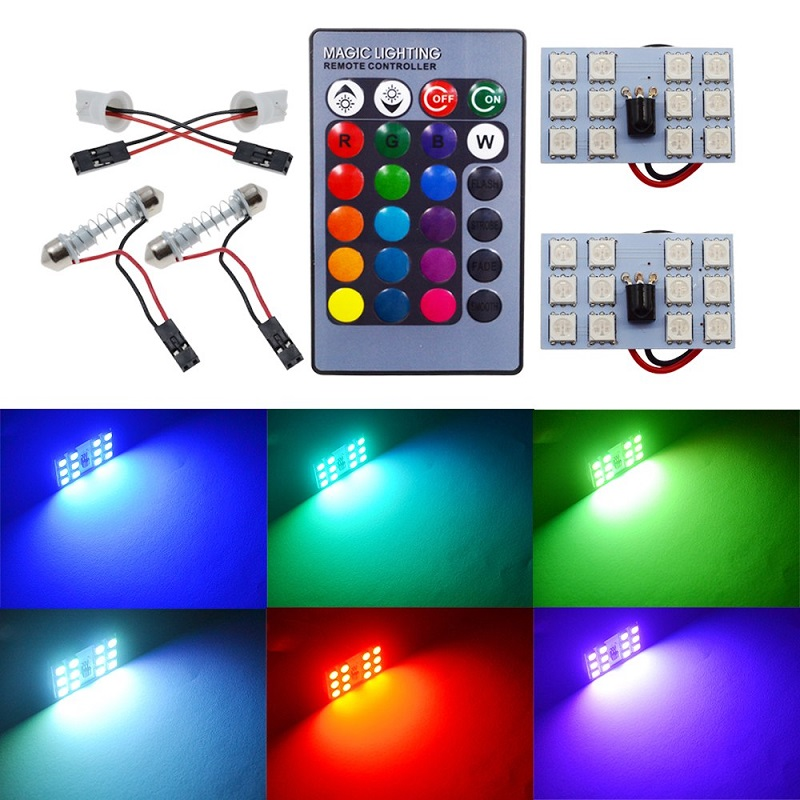 SMD RGB 12 LED Car Light signal lamp Bulb Remote Control
