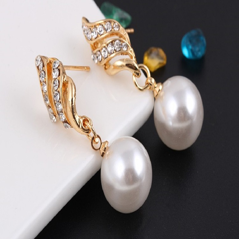 Necklace Earrings Jewelry Sets Crystal Gold Simulated Pearl