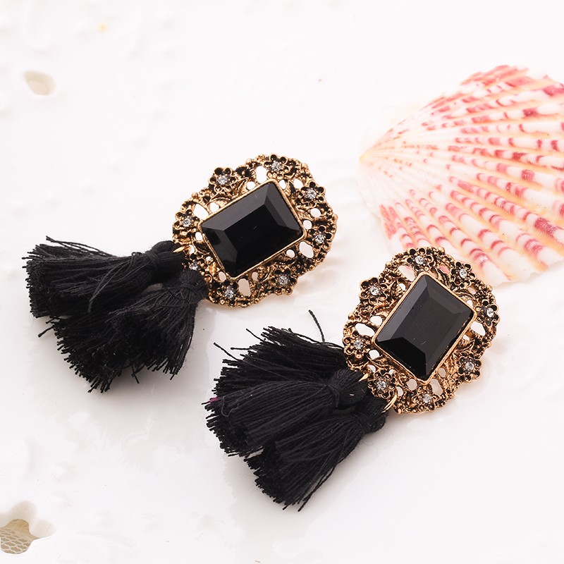 Vintage Crystal Tassel Dangle Earrings