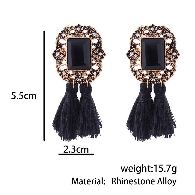Vintage Crystal Tassel Dangle Earrings