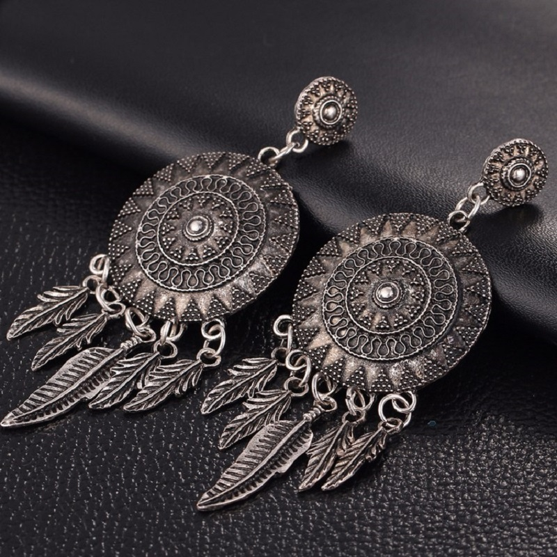 Vintage Leaf Feather Dangle Earrings