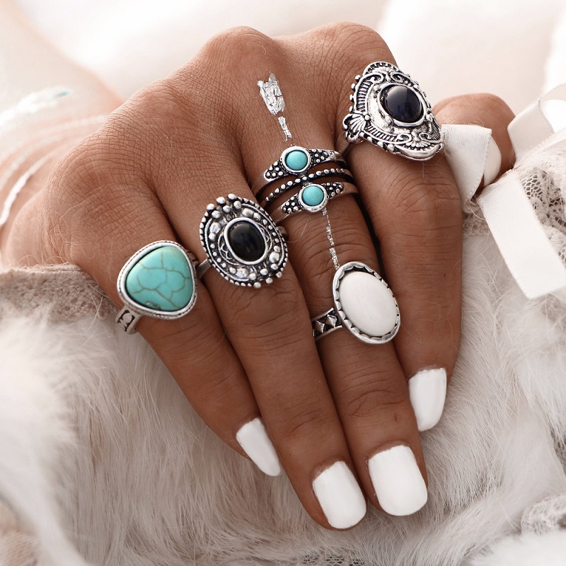 Pack of 5 Rings antique Silver Color Midi Ring Set Vintage