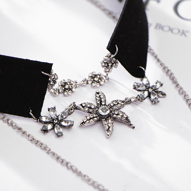 Crystal Flower Tattoo Choker Necklace for Women