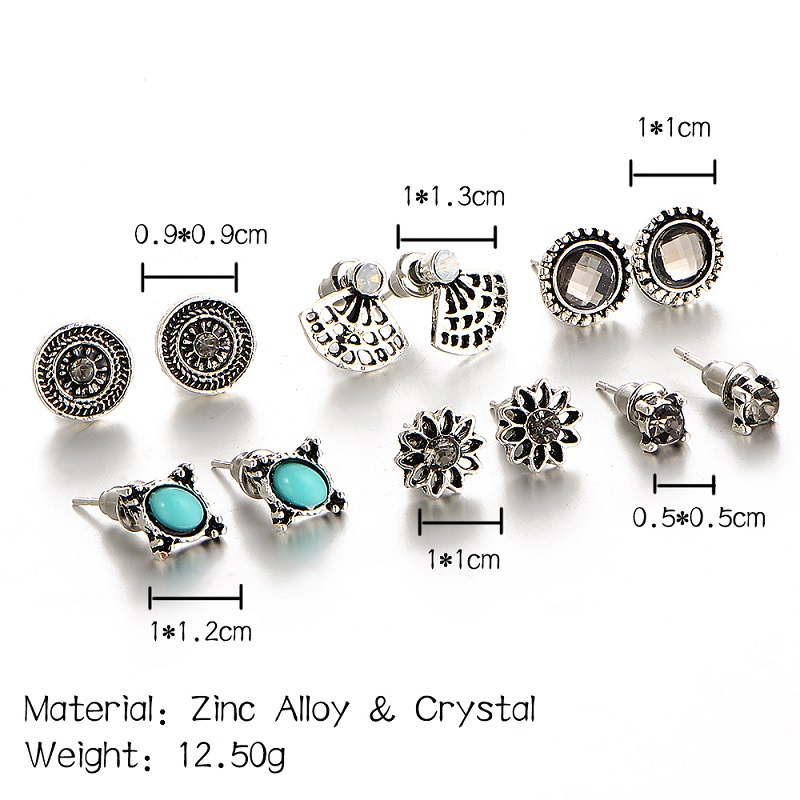 Natural Stone Crystal Stud Earrings Charming Retro Silver