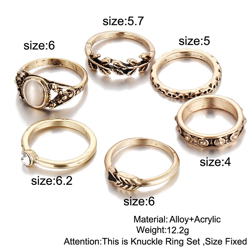 Pack of 6 Rings Vintage Leaf Jewelry Unique Carving Rings