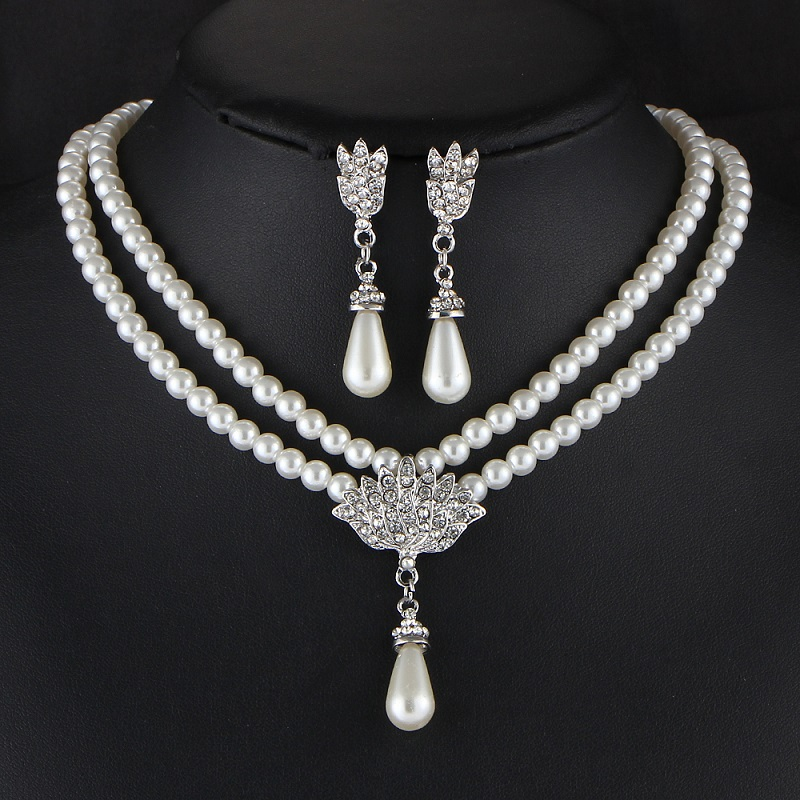 Bride Simulated Pearl Jewelry Set Bling Crystal Water Drop