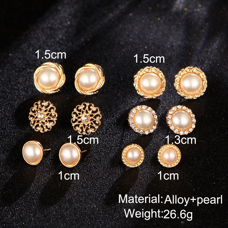 6 Pairs Gold Color Flower Hollow Stud Earring Vintage Crystal