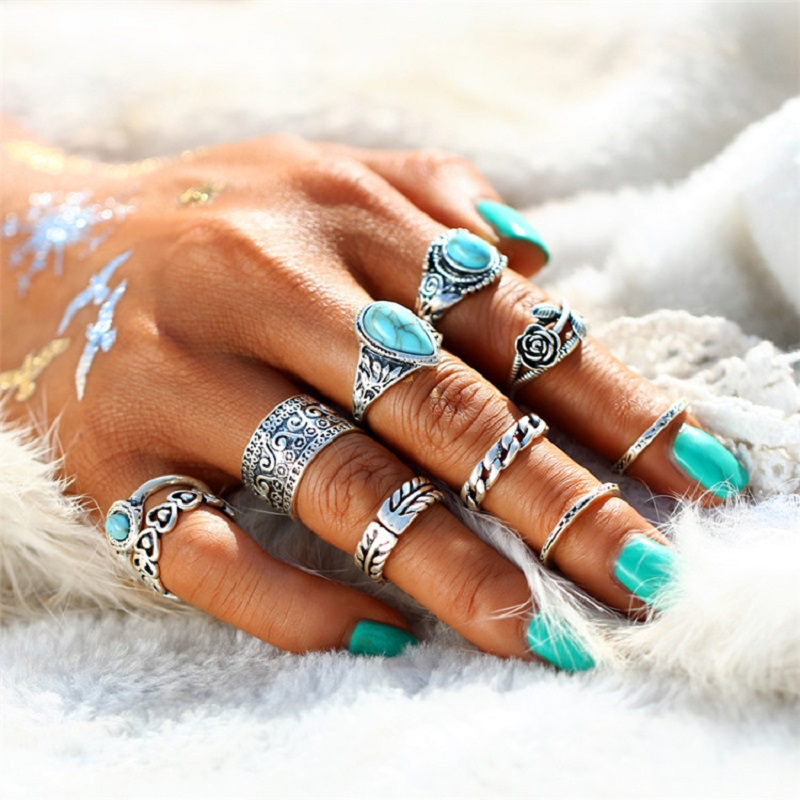 Pack of 10 Rings Rose Heart Midi Ring Sets Vintage Gold