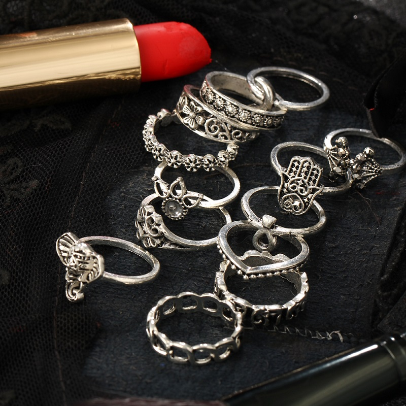 Pack of 13 Rings Vintage Hollow Turkish Hand Ring Sets