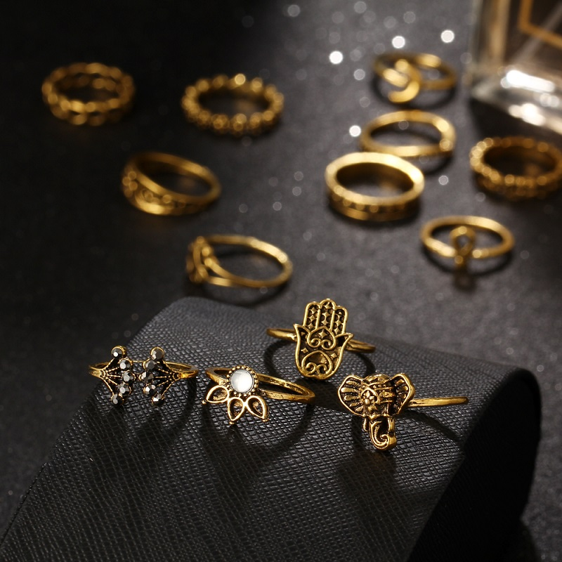 Pack of 13 Rings Vintage Hollow Turkish Hand Ring Sets Gold