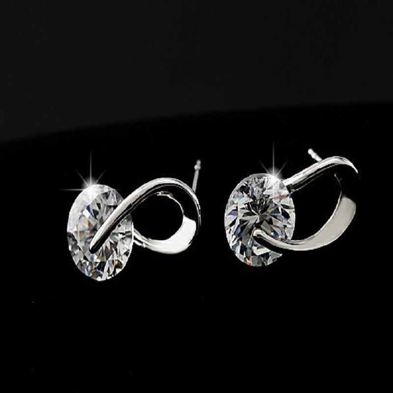 Silver Color Zircon Crystal Stud Earrings Fashion Jewelry