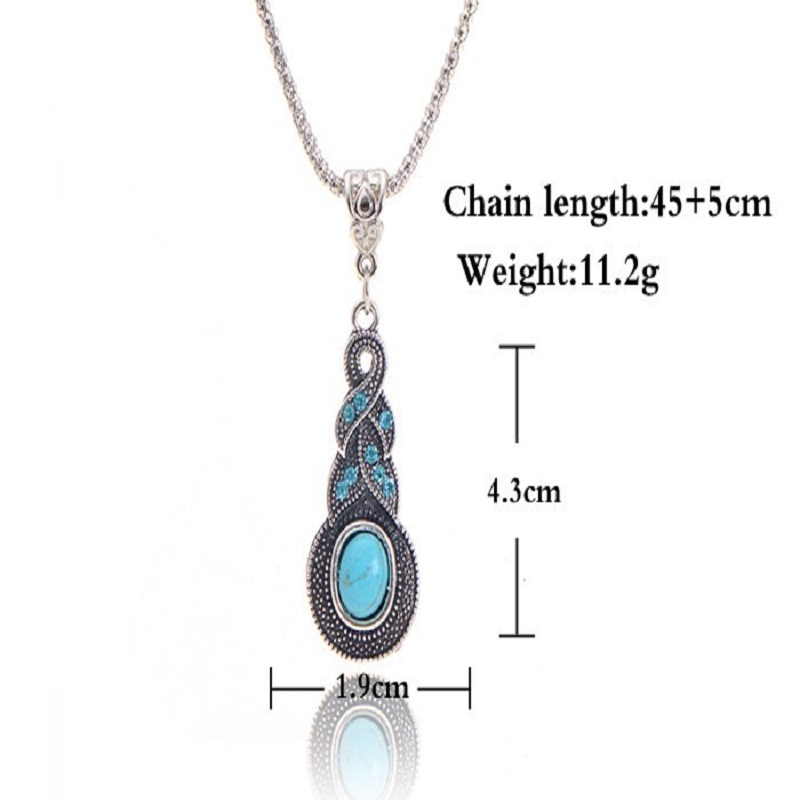 Round Jewelry Charming Blue Stone infinity pendant necklace