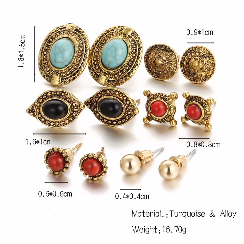 Vintage Punk Accessories Big Blue Stone Flower Earrings
