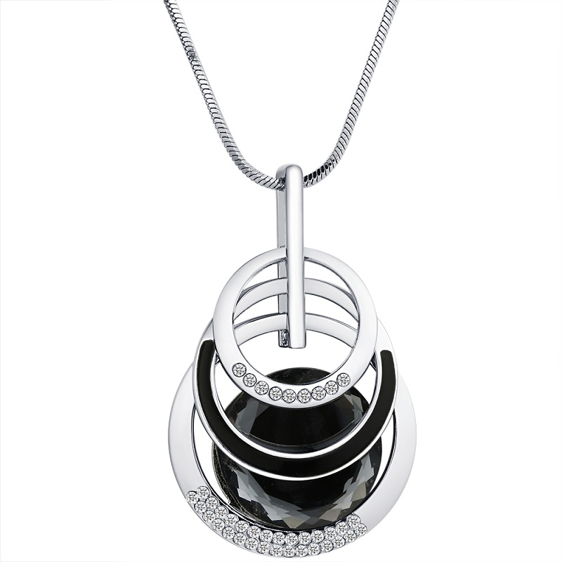 Crystal 3 Layered Round Circle Long Pendants Necklaces