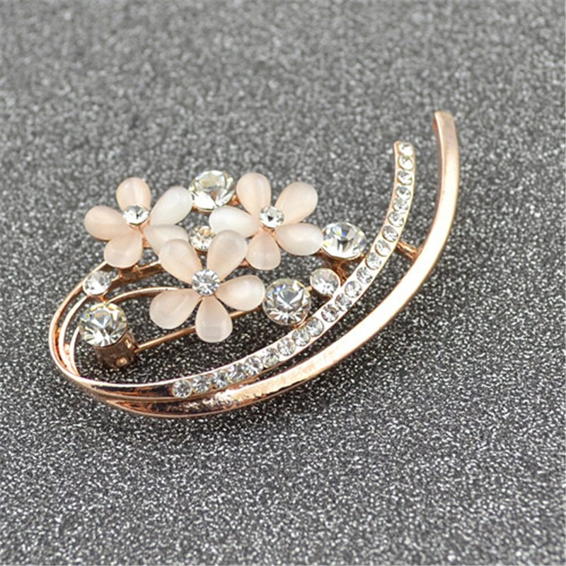 Brooches for Women Collar Accessories Fashion Jewelry Gold Opal