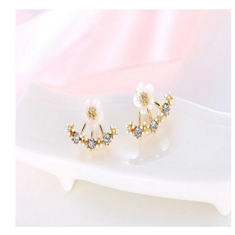 Crystal Pierced Stud Earrings Boucle d'oreille Femme