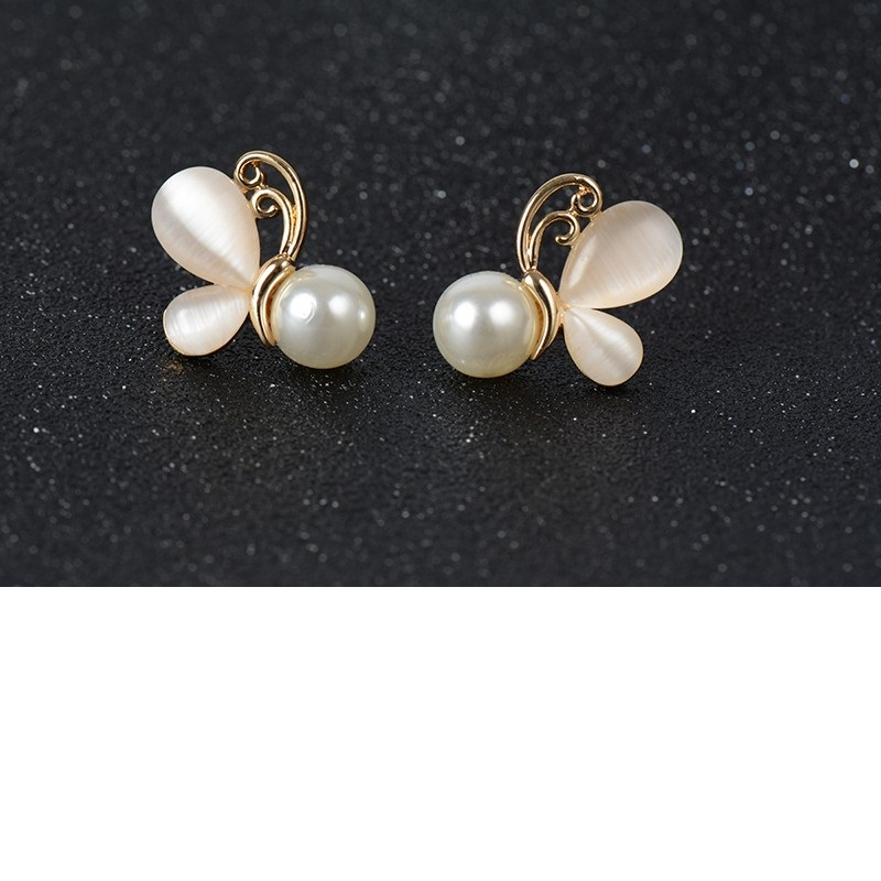 Gold Opal Earrings Simulated Pearl Jewelry Butterfly Stud