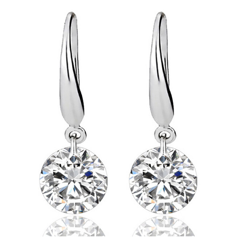 Classic Silver Color Earrings Princess Consort Wedding Crystal Earring