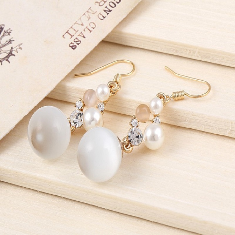 Charm Opal Pendant Long Earrings Gold Color Brand Ladies Cute Earring