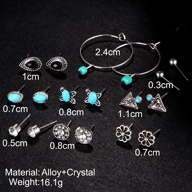 Set 9 Pairs/ Crystal Stud Earrings Vintage Flower Clip Cuff Earring