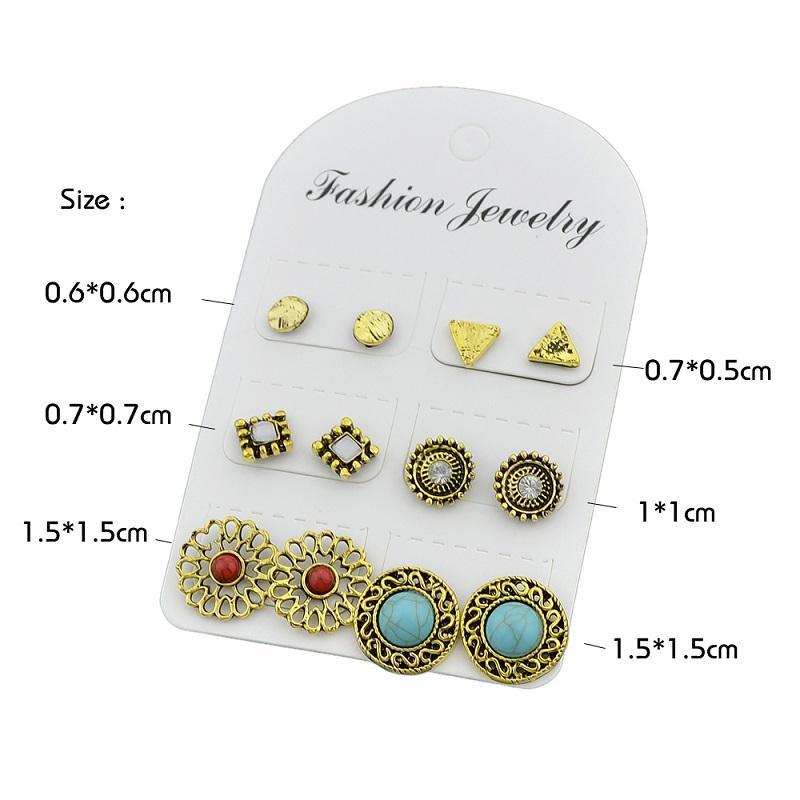 6 pairs/set Gold Color Earrings Set Stud Earrings