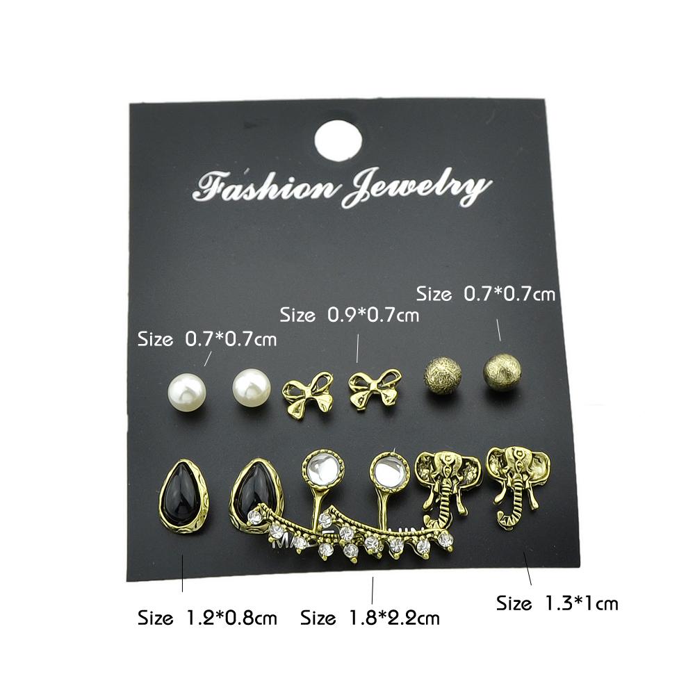 6 pairs/set Rhinestone Simulated-pearl Stud Earrings Ear Jacket