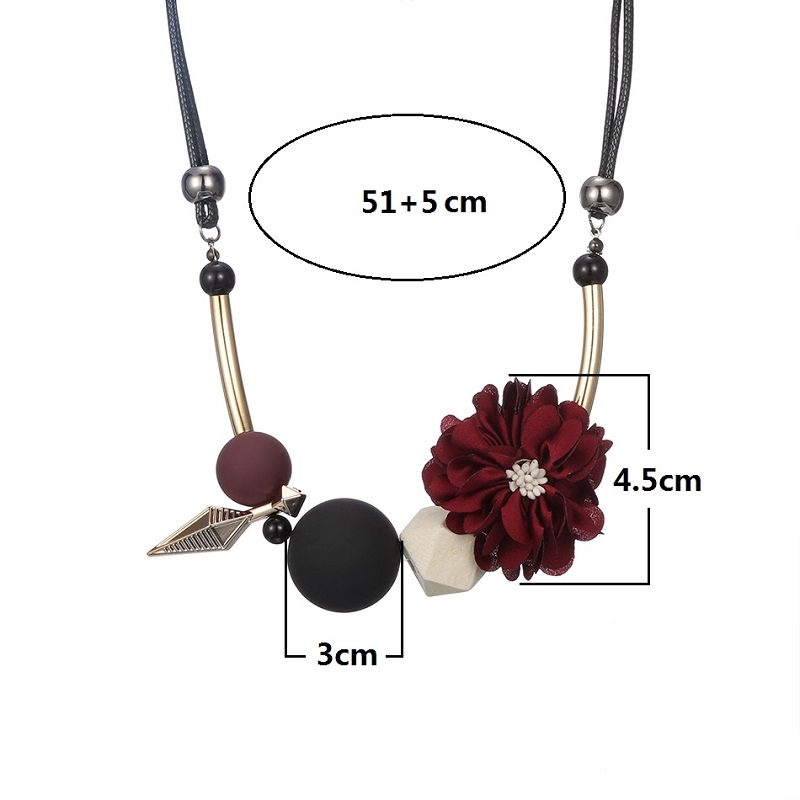 Necklace Statement Flower Necklaces and Pendants Wood Beads Necklace