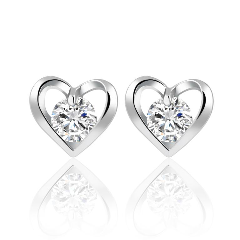 Romantic Flower Heart Crystal Stud Earrings Alloy Silver
