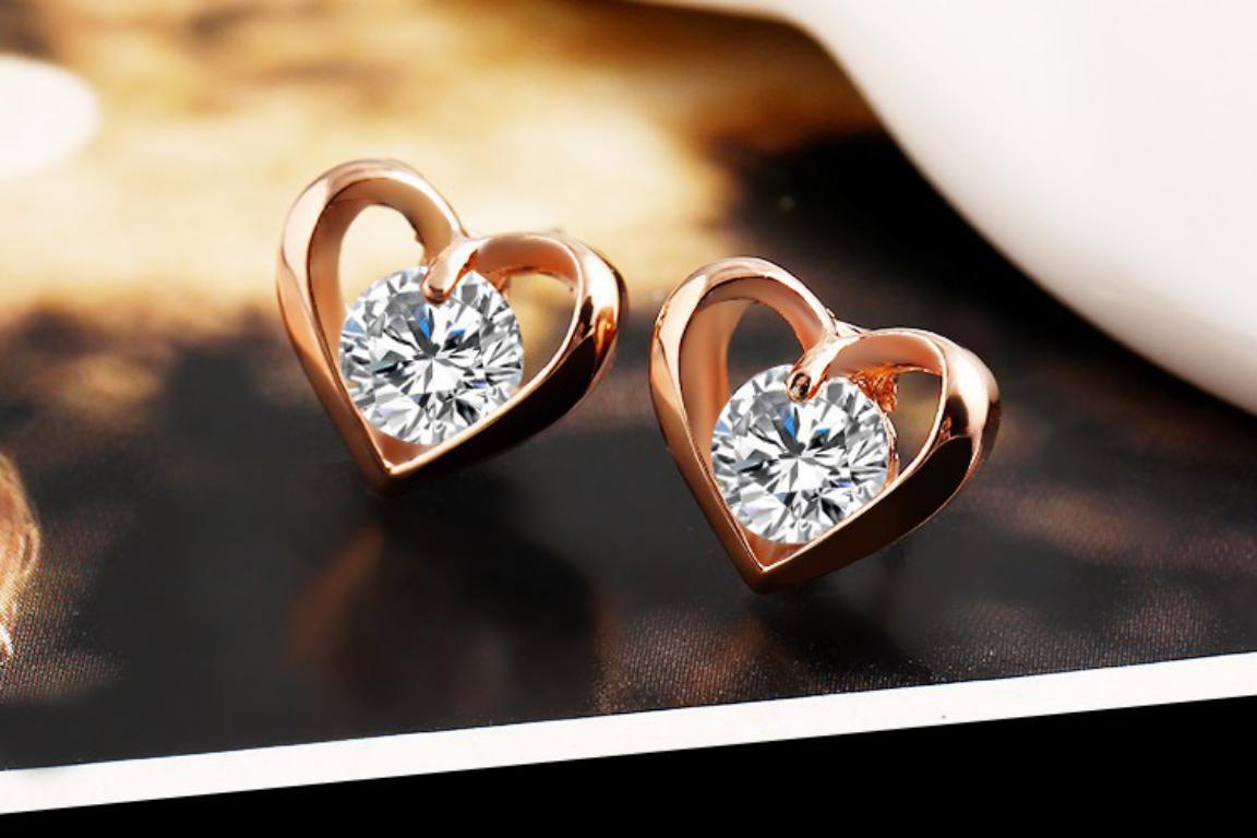 Romantic Flower Heart Crystal Stud Earrings Alloy Gold