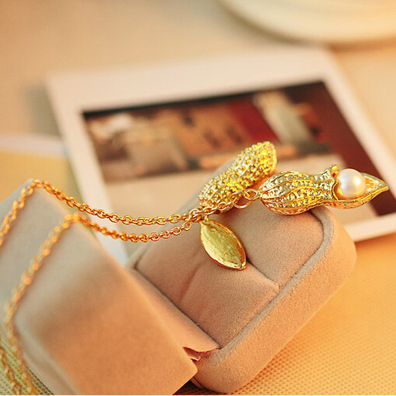 Gold Color Simulated Pearl Long Peanut Necklace