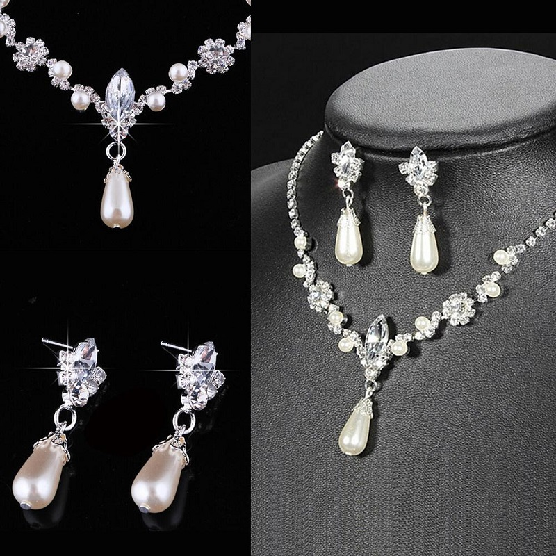 Crystal Simulated Pearl Jewelry Set Necklace Earrings
