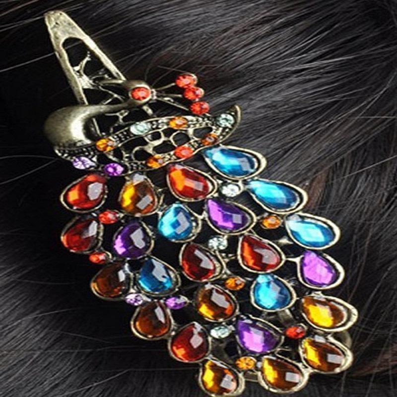 Vintage Colorful Rhinestone Peacock Hairpin Hair Clip