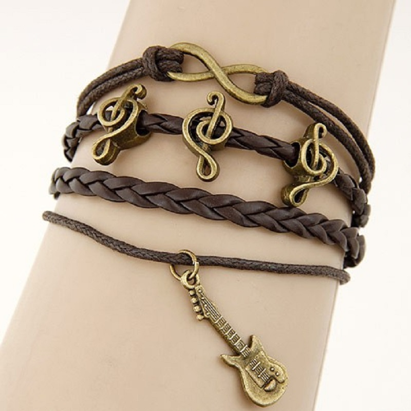 Unisex Leather Bracelet Guitar