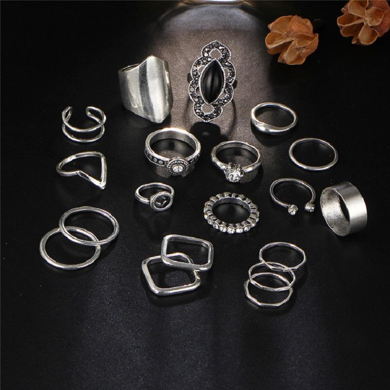 Vintage Finger Knuckle Rings Set For Women Pack of 19 Pcs