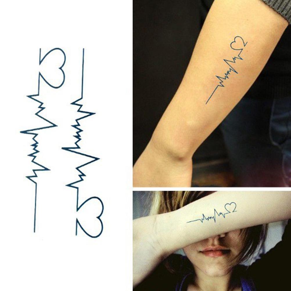 Pack of 2 Tattoo Stickers Electrocardiogram Shape Temporary Tattoo Water Proof Tattoo Body Tattoo