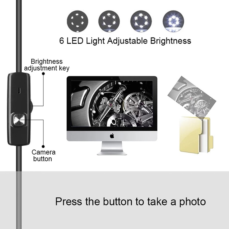 3 In 1 Type-c Android 6 LEDs USB Endoscope Inspection Mini Camera Borescope Flexible Hard Cable for Android Smartphone PC