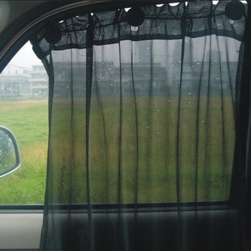 Pack of 2 - Car Sun Shade Side Window Curtain Auto Car Curtain Car UV Protection Sun Shade Curtains Side Window Visor Mesh Cover - Black