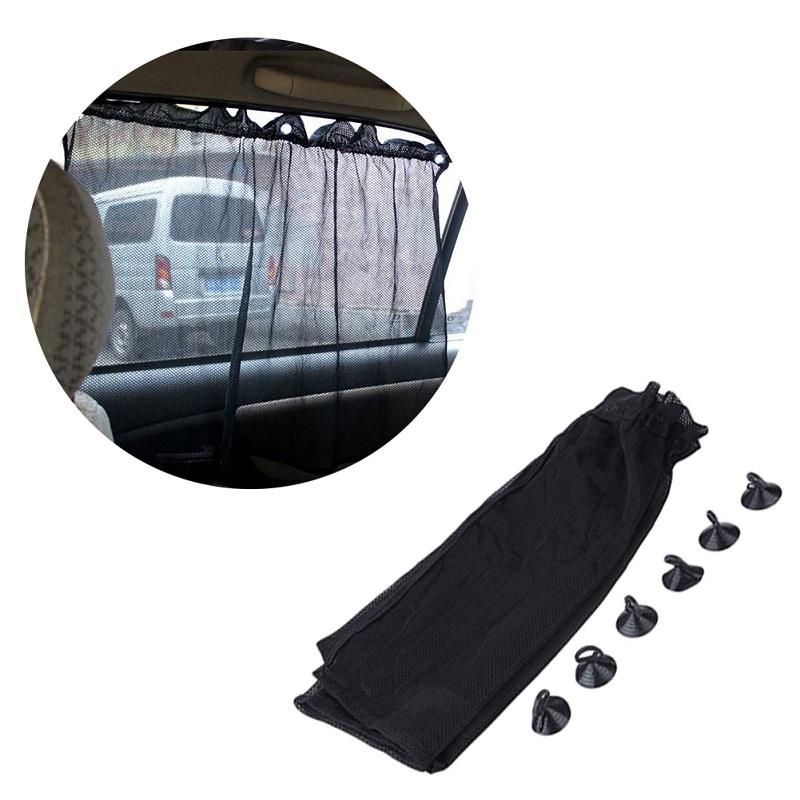 Pack of 2 - Car Sun Shade Side Window Curtain Auto Car Curtain Car UV Protection Sun Shade Curtains Side Window Visor Mesh Cover - Black