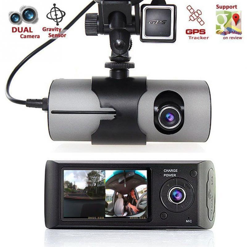 Car DVR Camera Video Recorder Dash Cam G-Sensor GPS Dual Lens